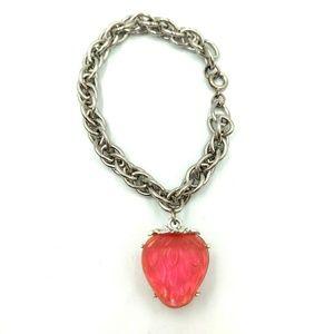 Jewelry - Strawberry Glow Charm Chunky Bracelet Silver Tone